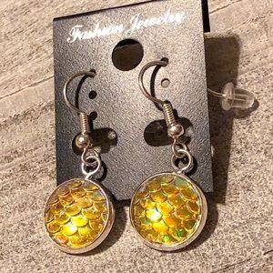 Yellow Mermaid Scale Dangle Earrings